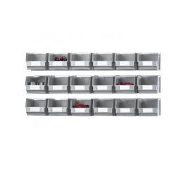Kit 3 rails muraux avec 18 bacs à bec