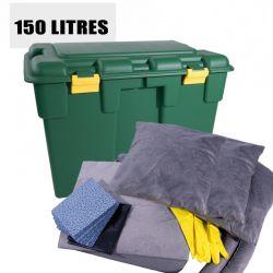 Kit d'intervention pour tous liquides, capacité d'absorption 150 litres.   Conte