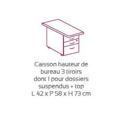 Caisson Haut. Bur. 2T+1T DS Avec Top